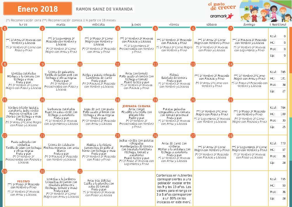 MENÚ COMEDOR MES DE ENERO 2018 | AMPA Sainz de Varanda