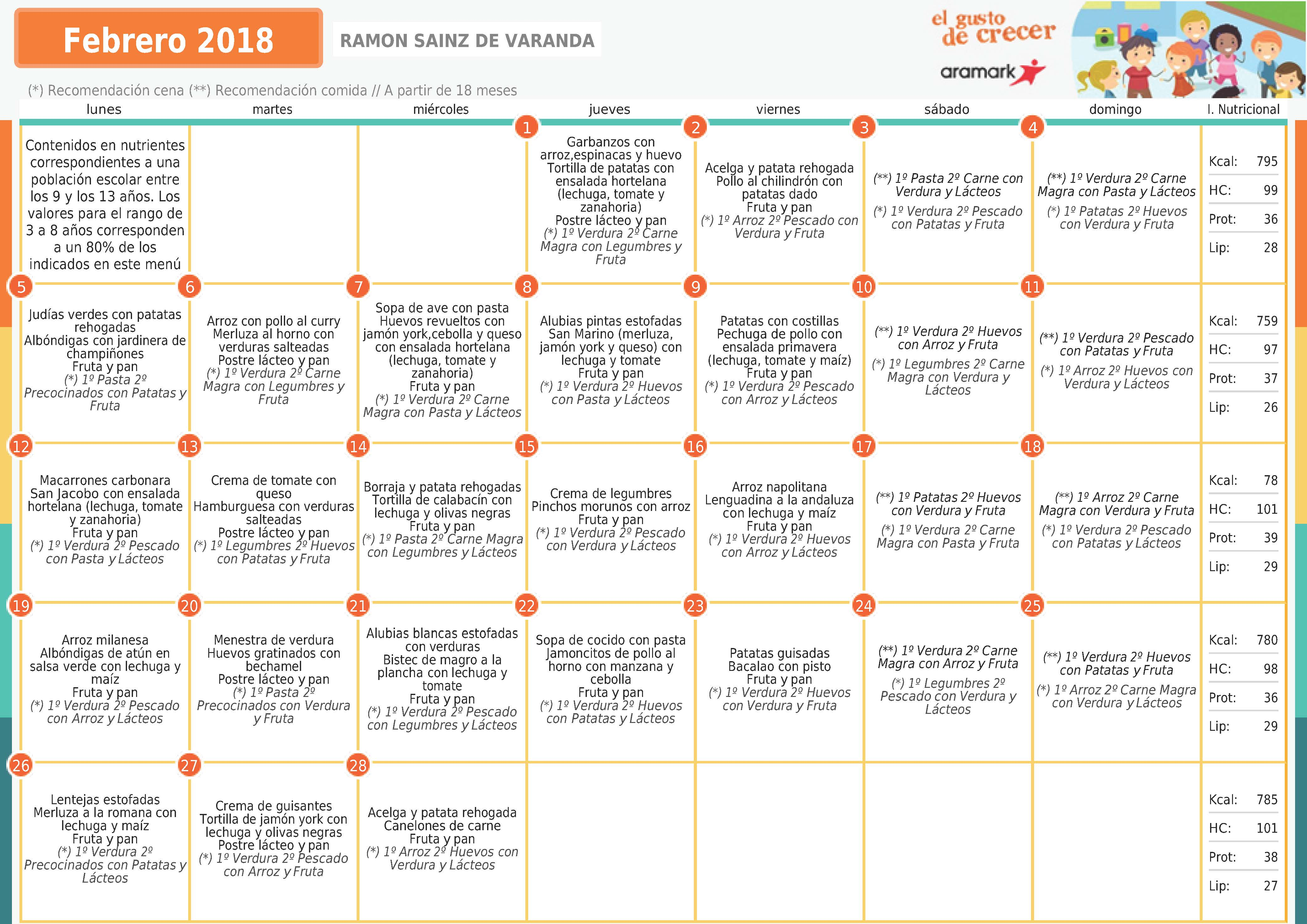 MENÚ COMEDOR MES DE FEBRERO 2018 | AMPA Sainz de Varanda